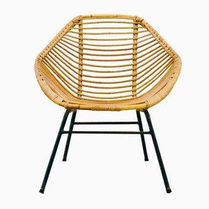 Mid-Century Rattan Basket Armchair