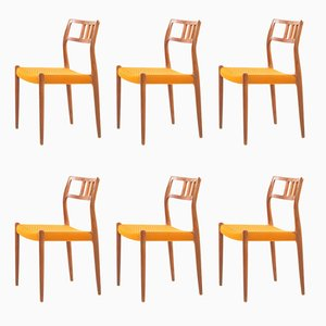 Vintage Teak Model 79 Dining Chairs by Niels Otto Møller, 1970s, Set of 6