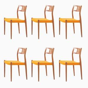 Vintage Teak Modell 79 Esszimmerstühle von Niels Otto Møller, 1970er, 6er Set