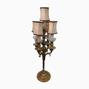 Lampada da tavolo vintage in bronzo e cristallo di Boemia