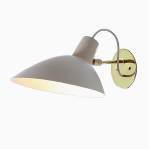 Italian Visor Wall Sconce in Brass & White Lacquer from Arteluce, 1950s