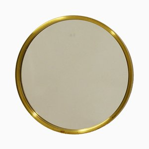 Round Brass Mirror from Glasmäster, Markaryd, 1960s
