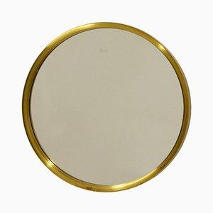 Round Brass Mirror from Glasmäster, Markaryd, 1960s