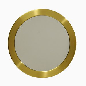 Circular Brass Mirror from Glasmäster Markaryd, 1960s
