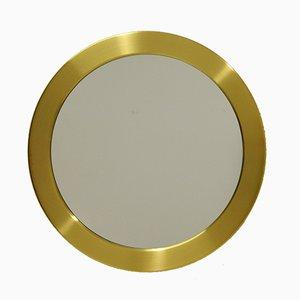 Specchio rotondo in ottone di Glasmäster, Markaryd, anni '60