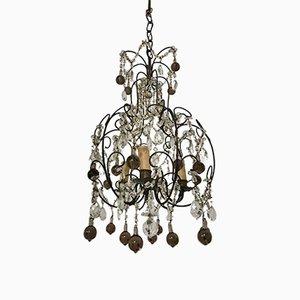Lámpara de araña italiana vintage con cuentas de cristal de Murano