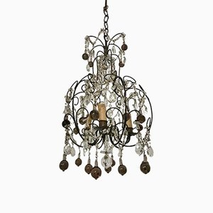 Vintage Italian Crystal Beaded Murano Glass Chandelier