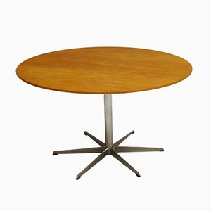 Model A825 Circular Oak Table by Arne Jacobsen, Piet Hein, & Bruno Mathsson for Fritz Hansen, 1970s