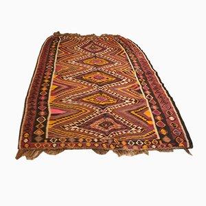 Alfombra turca vintage grande tejida a mano