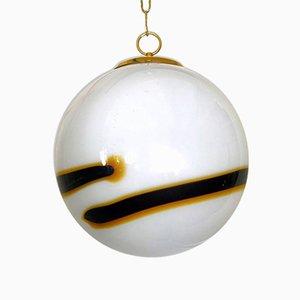 Lampada a sospensione sferica in vetro di Murano soffiato a mano di Paolo Venini, anni '60
