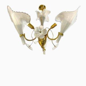Lampadario vintage in vetro di Murano e metallo dorato di Franco Luce