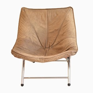 Foldable Leather Chair by Teun van Zanten for Molinari, 1970s