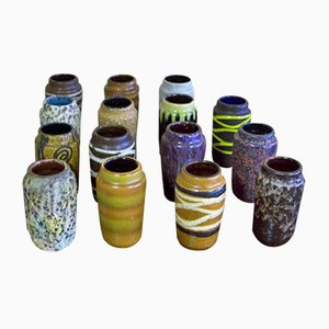 Mid-Century Model 231-15 Ceramic Vases from Scheurich, Set of 15