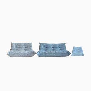 Blaues Leder Togo Wohnzimmer Set von Michel Ducaroy für Ligne Roset, 1970er