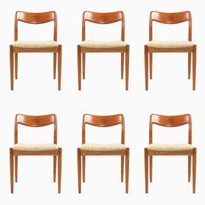 Vintage Teak Dining Chairs by Johannes Andersen for Uldum, 1960s, Set of 6