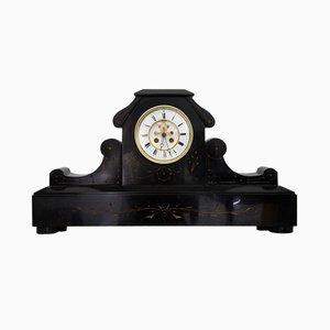 Orologio da camino Art Nouevau in marmo nero, anni '10