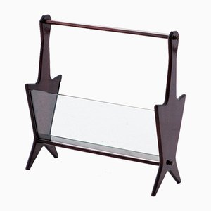 Mid-Century Italian Mahogany and Glass Magazine Rack, 1950s
