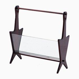 Revistero italiano Mid-Century de vidrio y caoba, años 50