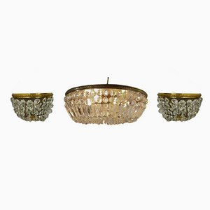 Hollywood Regency Messing & Kristallglas Kronleuchter & 2 Wandlampen, 1970er
