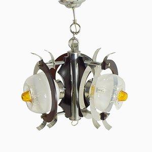 Lampada a sospensione vintage in vetro di Murano di Mazzega, anni '70