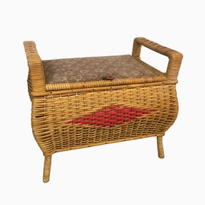 Vintage Rattan Sewing Box or Footstool, 1950s
