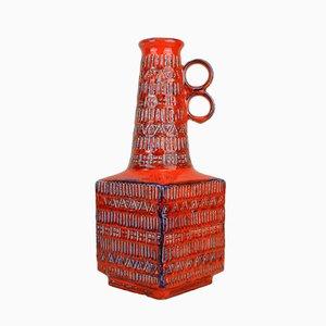 Jarrón vintage rojo de Bodo Mans para Bay Keramik, años 60