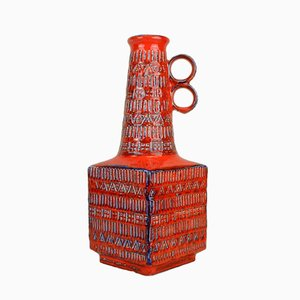 Vintage Red Vase by Bodo Mans for Bay Keramik, 1960s