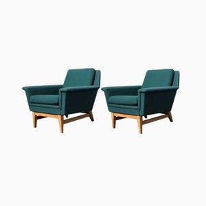 Schwedische Vintage Eichenholz & Wollstoff Sessel, 1970er, 2er Set