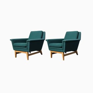 Vintage Swedish Oak & Green Wool Club Chairs, 1970s, Set of 2