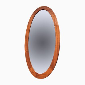 Mid-Century Danish Large Elliptical Mirror in Teak, 1960s