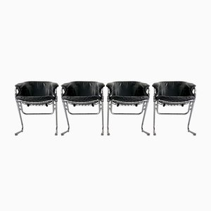 Italian Vintage Flynn Chairs in Leather by Gastone Rinaldi for Rima, 1970s, Set of 4