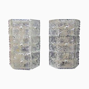 Large Crystal Sconces, 1960s, Set of 2