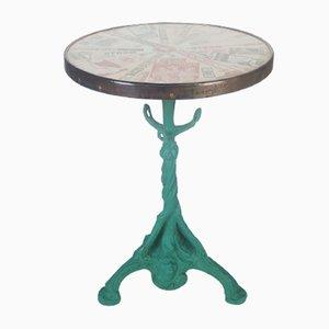 Mesa bistrot antigua francesa con tablero de vidrio