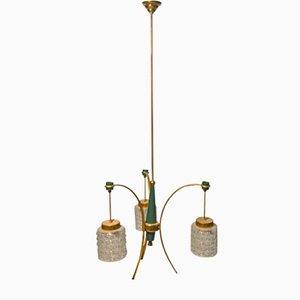 Vintage Italian Brass & Murano Glass Chandelier, 1950s