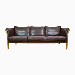 Dänisches Mid-Century 3-Sitzer Sofa aus braunem Leder von Skalma, 1970er