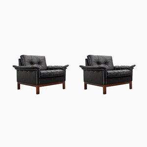 Mid-Century Scandinavian Leather Lounge Chairs, 1950s, Set of 2