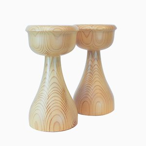 Pine Candleholders by Erik Höglund for Boda Trä, 1960s, Set of 2