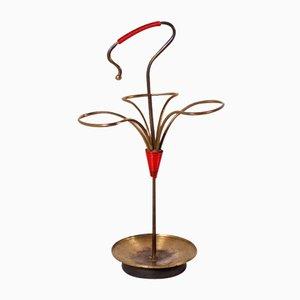 Vergoldeter Metall Schirmständer, 1950er