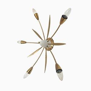 Italienische Sputnik Messing Deckenlampe, 1950er