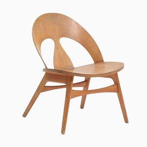 Silla danesa vintage de madera de cerezo de Børge Mogensen para Erhard Rasmussen, años 50