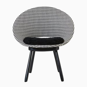 Swedish Chair with Houndstooth Pattern and Sheepskin Seat, 1950s