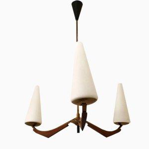 Lámpara de araña de vidrio opalino y madera de Arlus, años 50