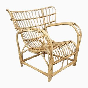 Wicker Easy Chair by Viggo Boesen for E.V.A. Nissen & Co, 1950s, Denmark