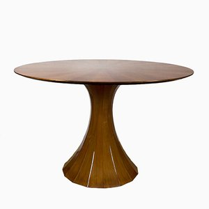 Vintage Italian Walnut Veneer Round Dining Table, 1960s