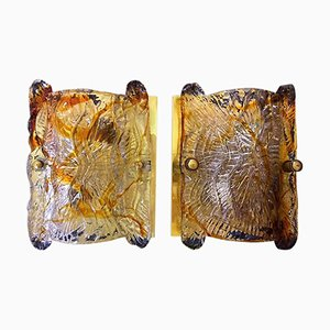 Murano Glas Wandleuchten von Mazzega, 1960er, 2er Set