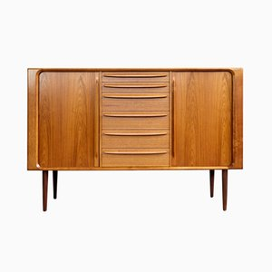 Vintage Danish Highboard in Teak with Tambour Doors