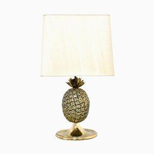 Lámpara de mesa con piña de latón, años 70
