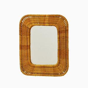 Vintage Swedish Rattan Mirror, 1950s