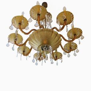 Lampadario grande a otto braccia veneziano in vetro ambrato e ottone, anni '60