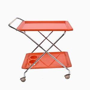 Bar Trolley in Orange Plastic & Chromed Metal, 1950s